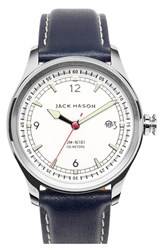 Men's Jack Mason Brand Nautical Leather Strap Watch 42Mm White Navy