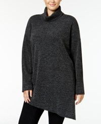 Rachel Roy Curvy Trendy Plus Size Turtleneck Tunic Sweater Only At Macy's Charcoal Heather