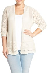 Plus Size Women's Sejour Cotton Open Front Cardigan Beige Rainy Day