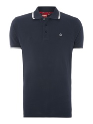 Merc Short Sleeve Tipped Logo Polo Dark Blue