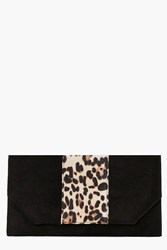 Boohoo Faux Leopard And Suedette Clutch Bag Black