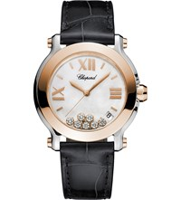 Chopard Happy Sport 18Ct Rose Gold Stainless Steel Diamond And Alligator Leather Watch