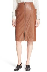 Tibi Women's High Waist Zip Front Leather Skirt