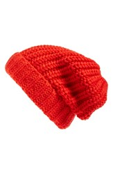 Hinge Women's Chunky Knit Beanie Red Red Poppy