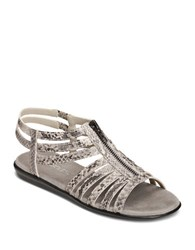Aerosoles Clothesline Faux Leather Gladiator Sandals Grey Snake