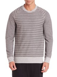 2Xist Striped French Terry Pullover Grey