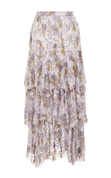 Rodarte Hand Beaded Daisy Silk Tiered Skirt Print
