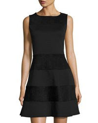 Neiman Marcus Fit And Flare Faux Suede Paneled Dress Black
