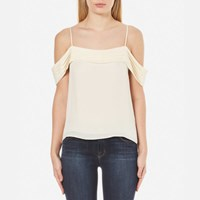Alexander Wang T By Women's Silk Georgette Pleated Off The Shoulder Top Eggshell Cream