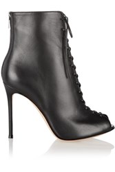 Gianvito Rossi Lace Up Leather Peep Toe Ankle Boots Black