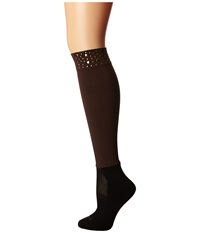 Bootights Nikki Nailhead Darby Brown Women's Crew Cut Socks Shoes