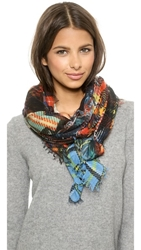 Franco Ferrari Plaid Roses Scarf Multi