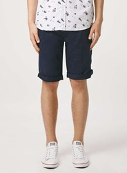 Topman Navy Long Length Chino Shorts Blue
