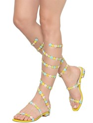 Rene Caovilla 10Mm Floral Satin And Leather Wrap Sandals