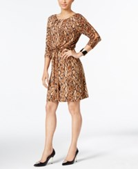 Thalia Sodi Snake Print Fit And Flare Dress Only At Macy's Snake Brown