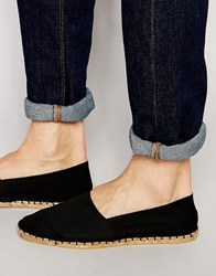 Asos Espadrilles In Black Canvas Black