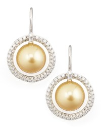 Golden South Sea Pearl And Diamond Halo Earrings 1.15Ct Eli Jewels Blue