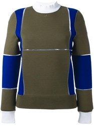 Courreges Panelled Colour Block Sweater Green