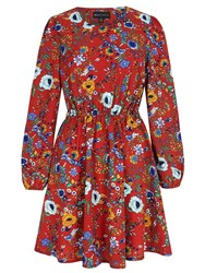 Mela Loves London 70S Floral Print Skater Dress Rust
