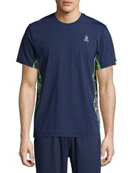 Psycho Bunny Short Sleeve Performance Tee W Camo Panels Navy