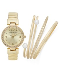 Charter Club Women's 4 Pc. Watch 34Mm And Bracelet Set Only At Macy's Gold