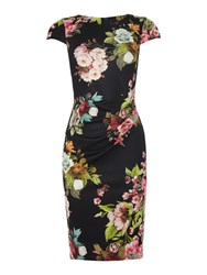 Jessica Wright Cap Sleeve Round Neck Floral Bodycon Dress Multi Coloured
