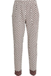 Maje Eshmire Printed Crepe De Chine Tapered Pants