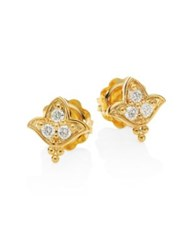 Temple St. Clair Lotus Diamond And 18K Yellow Gold Stud Earrings