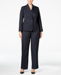 Le Suit Plus Size Three Piece One Button Pinstriped Pantsuit Navy Corn