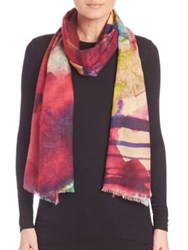 Bindya Watercolor Cashmere And Silk Scarf Red Multi