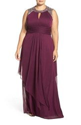 Alex Evenings Plus Size Women's Embellished Keyhole Bodice Ruched Chiffon Gown