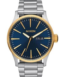 Nixon Gold And Blue Sentry Ss Watch Yellow