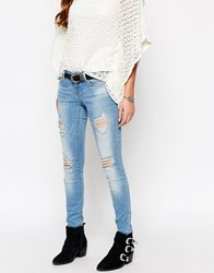 Only Ultimate Skinny Jeans With Distressing And Rips Blue