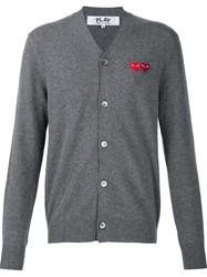 Comme Des Garcons Play 'Double Heart' Cardigan Grey