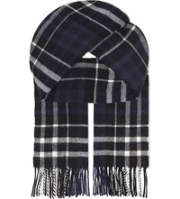 Sandro Scotland Checked Wool Scarf Blue