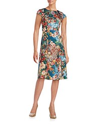 Eci Floral Print Fit And Flare Midi Dress Blue Pink