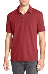 James Perse Men's Trim Fit Sueded Jersey Polo Red Heat