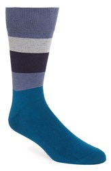 Falke Men's Stripe Cotton Blend Socks Teal