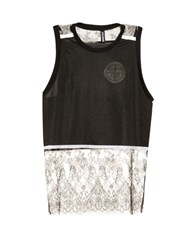 Astrid Andersen Lace And Mesh Tank Top Black Multi