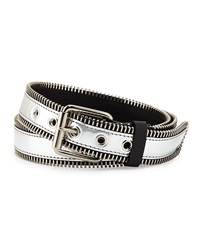 Giuseppe Zanotti Men's Zip Trim Metallic Leather Belt