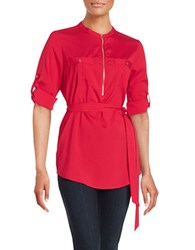 Calvin Klein Zip Placket Tunic Rouge