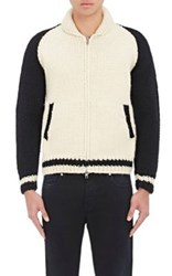 Herman Men's Rose Intarsia Chunky Wool Cardigan Cream Black Tan Cream Black Tan