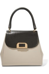 Marni Two Tone Leather Tote Mushroom