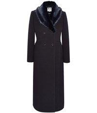 Austin Reed Navy Classic Coat With Fur Collar