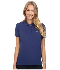 Lacoste Short Sleeve Classic Fit Pique Polo Shirt Waterfall Blue Women's Short Sleeve Knit Navy