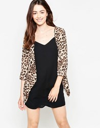 Mela Loves London Leopard Print Blazer Brown