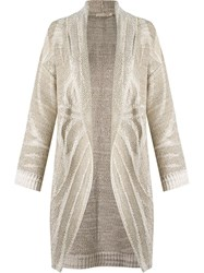 Cecilia Prado Open Front Knitted Cardi Coat Nude And Neutrals