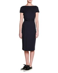 Tomas Maier Cap Sleeve Belted Sheath Dress Blazer Navy