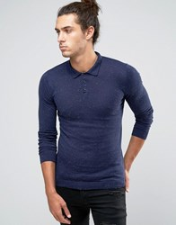 Asos Muscle Fit Knitted Polo In Cotton Navy