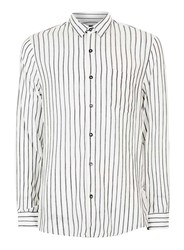 Topman White And Charcoal Stripe Crinkle Textured Viscose Casual Shirt